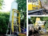 Silo, Bohrgerät und Verfüllanlage bei Sicherungsarbeiten
